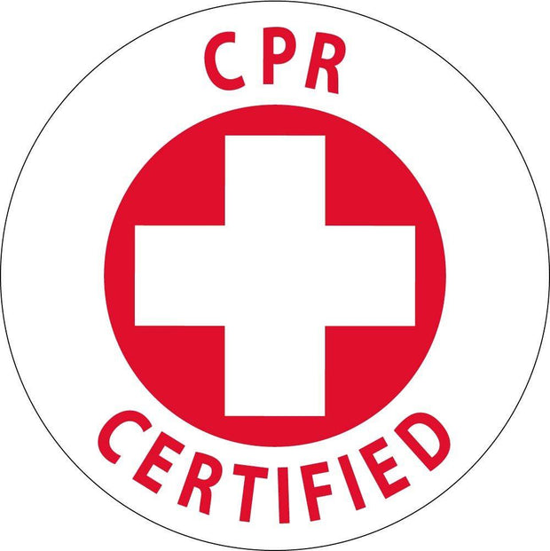 "Hard Hat Decals CPR Certified Graphic 2"" x 2"" Round - Global Construction Supply"