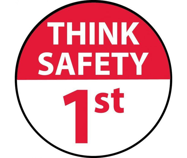"Hard Hat Decals Think Safety 1st Graphic 2"" x 2"" Round - Global Construction Supply"