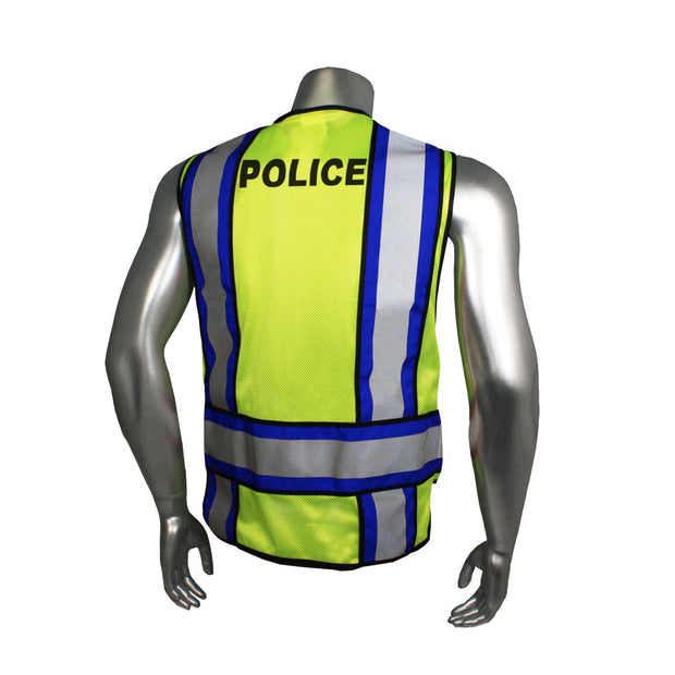 Back Green with Blue Trim Radians LHV-207-4C-POL Police Safety Vest ANSI CL2