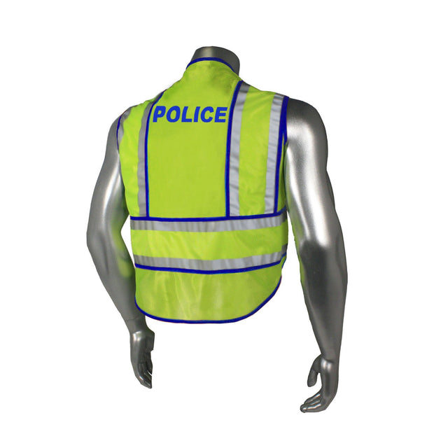 Radians Back Police w/ Blue Trim LHV-207-SPT-POL Police Safety Vest ANSI CL2