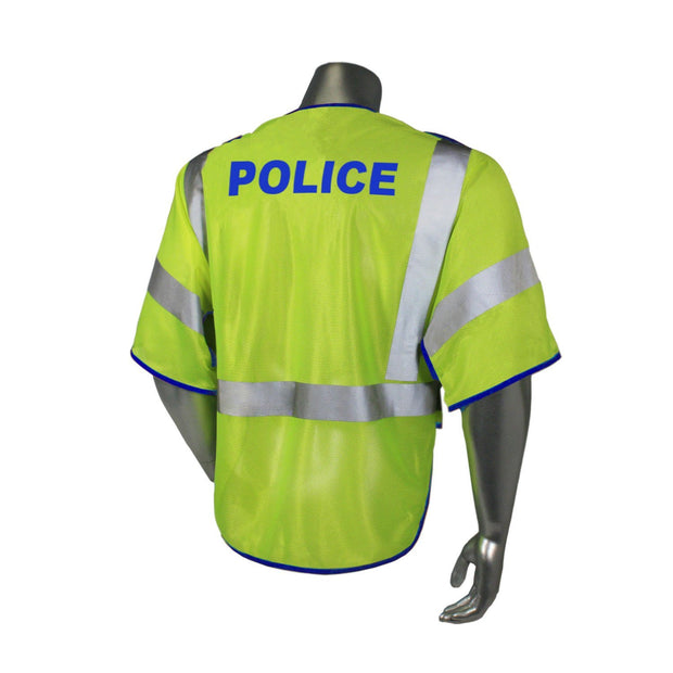 Back Radians LHV-PS3-DSZR-POL Police Safety Vest ANSI CL3