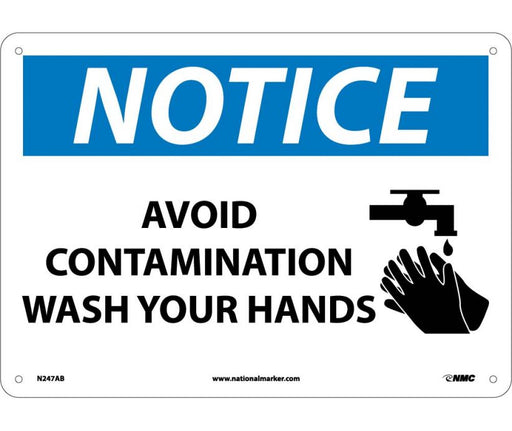 N247AB NOTICE WASH YOUR HANDS SIGN