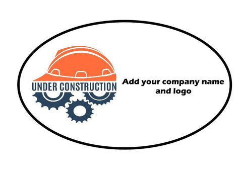 "Custom Hard Hat Decals Your Company Name and Logo Graphic 3"" x 1.88"" Oval - Global Construction Supply"