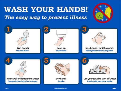 PST138 FIGHT GERMS BY WASHING YOUR HANDS POSTER