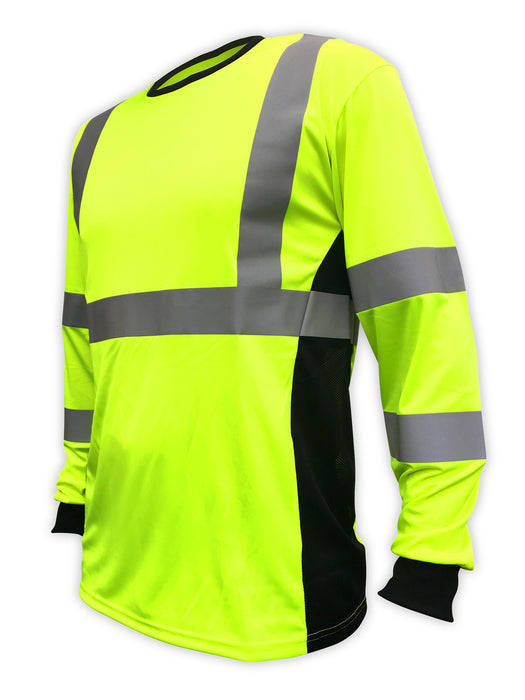 SafetyShirtz - SS360º ANSI Class 3 Safety Long Sleeve Tee - Yellow (Safety Green) w/ Vented Sides