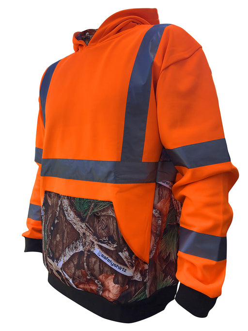 SafetyShirtz - SS360º ANSI Class 3 Deepwoods Camo Orange Safety Hoodie