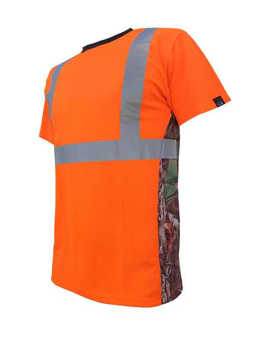 SafetyShirtz - SS360º ANSI Class 2 Deepwoods Camo Orange Safety Shirt w/ Vented Sides
