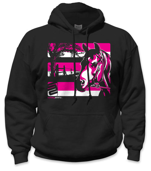 SafetyShirtz - Horse Safety Hoodie - Pink/Black