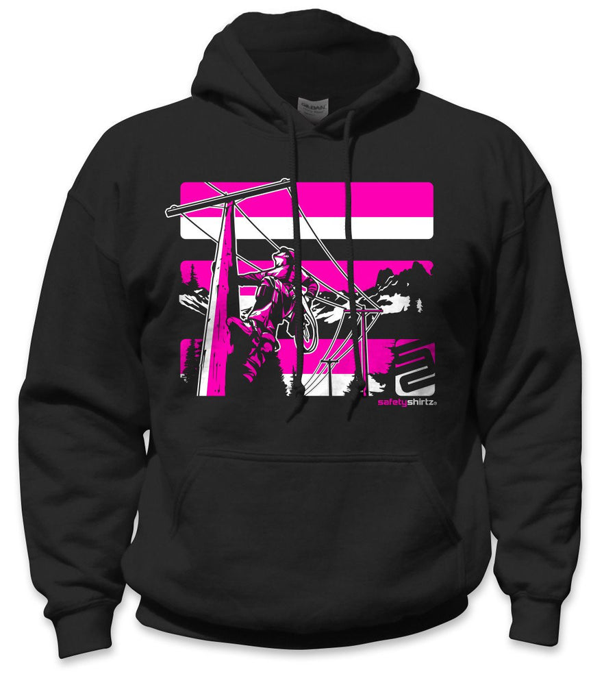 SafetyShirtz - Lineman Safety Hoodie - Pink/Black: Global Construction Supply
