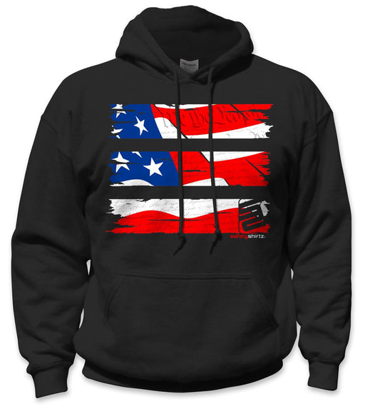 SafetyShirtz - Old Glory Safety Hoodie - RED/WHITE/BLUE/BLACK: Global Construction Supply