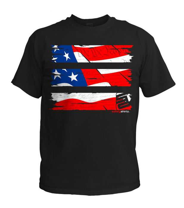 SafetyShirtz - Old Glory Safety Shirt - RED/WHITE/BLUE/BLACK: Global Construction Supply