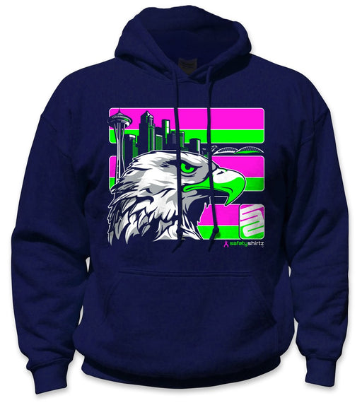 SafetyShirtz - Pink Seattle Safety Hoodie - Pink/Gray/Navy: Global Construction Supply