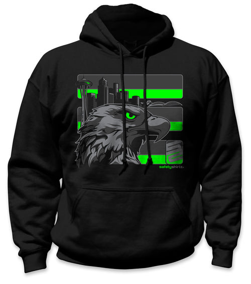 SafetyShirtz - Seattle Stealth Safety Hoodie - Green/Reflective/Black