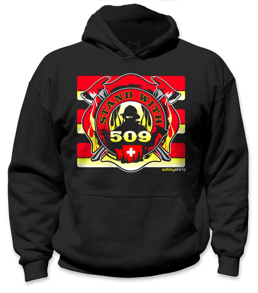 SafetyShirtz - Stand with 509 Safety Hoodie - Red/Yellow/Black: Global Construction Supply