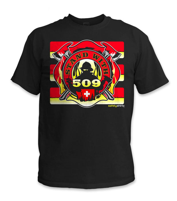 SafetyShirtz - Stand with 509 Safety Shirt - Red/Yellow/Black: Global Construction Supply