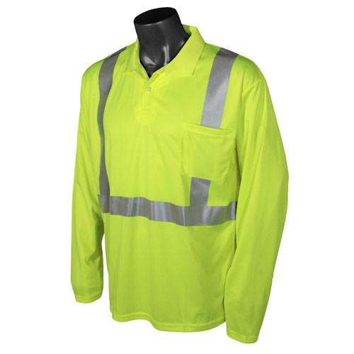 Radians ST22-2 Type R Class 2 Hi-Viz Long Sleeve Safety Polo with MAX-DRI™: Global Construction Supply