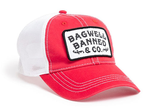 Sample Image Color Red/White Pacific Headwear V67 Vintage Trucker Mesh Snapback Hat