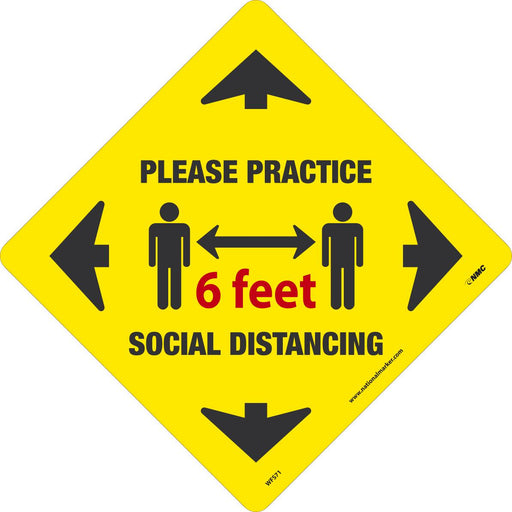 WFS71 PLEASE WAIT HERE WALK ON FLOOR SIGN YELLOW