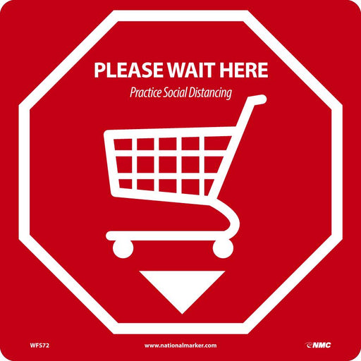 WFS72 PLEASE WAIT HERE WALK ON FLOOR SIGN RED
