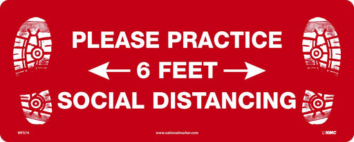 WFS74 PRACTICE SOCIAL DIST. WALK ON FLOOR SIGN