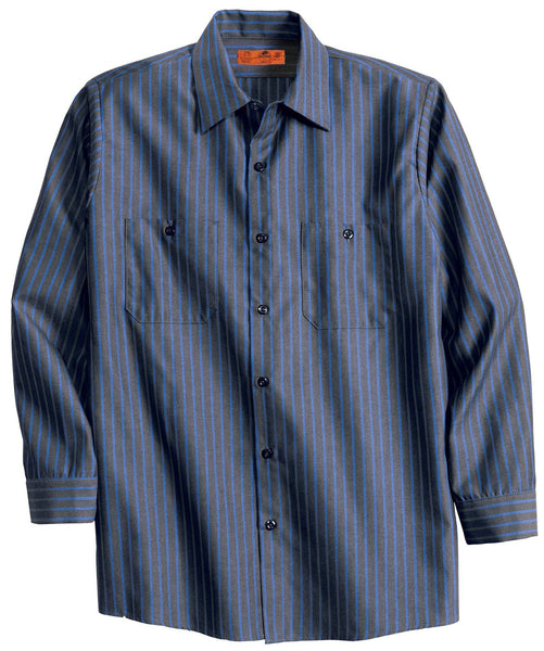 Red Kap Cs10 Long Sleeve Striped Industrial Work Shirt