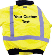 Custom Logo Majestic 75-1300-C1 Hi Vis Safety Jacket with Heat Transfer Letters ANSI Class 3 - Global Construction Supply