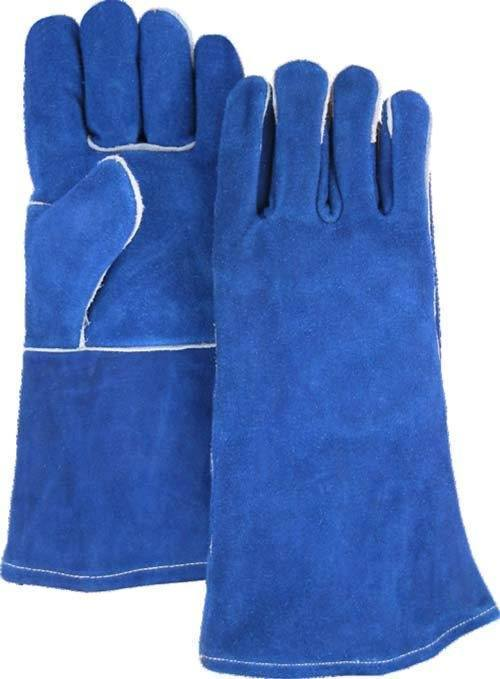 Majestic 1514BL Blue Side Split Leather Welders Gloves Kevlar Sewn (DOZEN) - Global Construction Supply