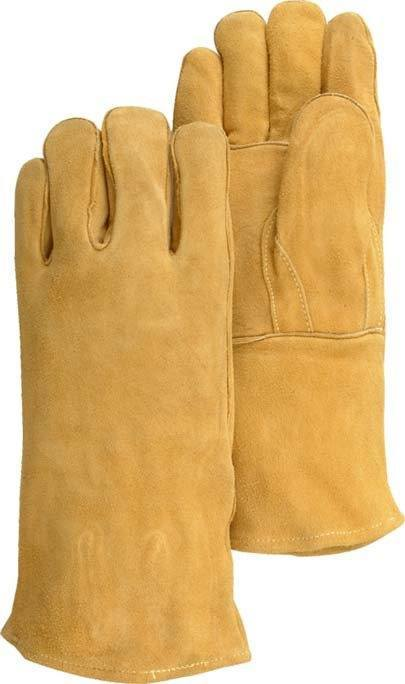 Majestic 1514S Brown Side Split Cowhide Leather Welders Gloves Kevlar Sewn (DOZEN) - Global Construction Supply