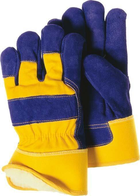 Majestic 1600 Split Cowhide Leather Work Gloves Pile Lined Blue/Gold (DOZEN) - Global Construction Supply