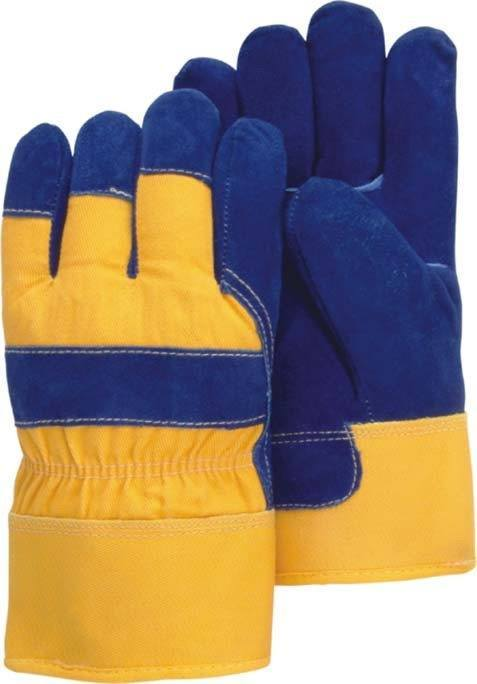 Majestic 1600W Split Cowhide Leather Work Gloves Waterproof Bladder Pile Lined Blue/Yellow (DOZEN) - Global Construction Supply