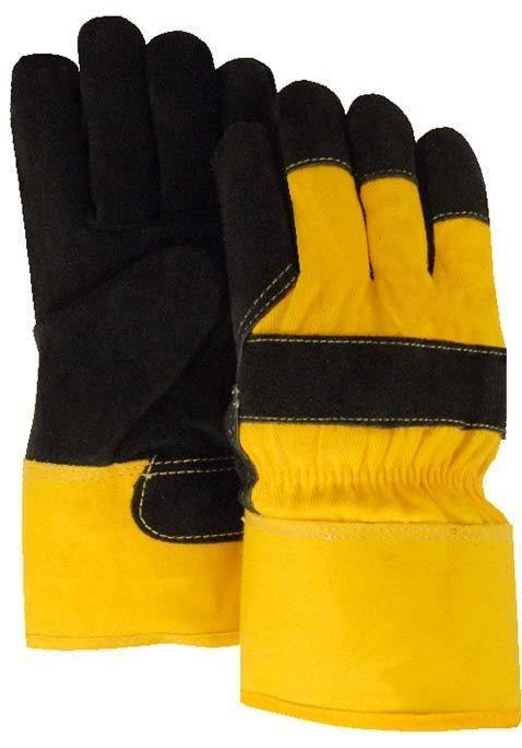 Majestic 1602 Split Cowhide Leather Work Gloves Pile Lined Black/Yellow (DOZEN) - Global Construction Supply