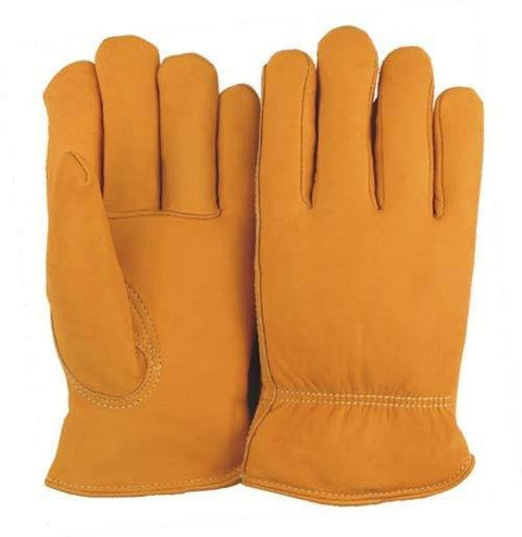 Majestic 1662 Elkskin Leather Driver Gloves Red Fleece Lined (DOZEN) - Global Construction Supply