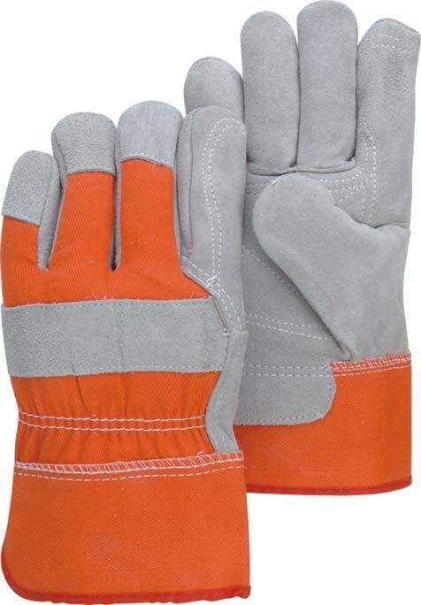 Majestic 2501CDP Hi Vis Back & Cuff Split Cowhide Leather Work Gloves (DOZEN) - Global Construction Supply