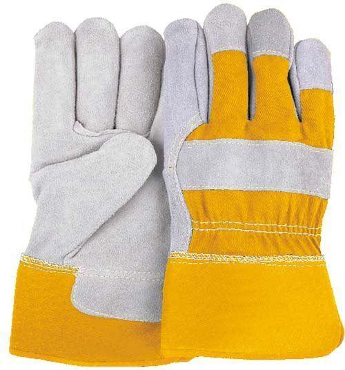 Majestic 2501CY Cowhide Leather Work Gloves Yellow Back and Cuff PE Safety Cuff (DOZEN) - Global Construction Supply