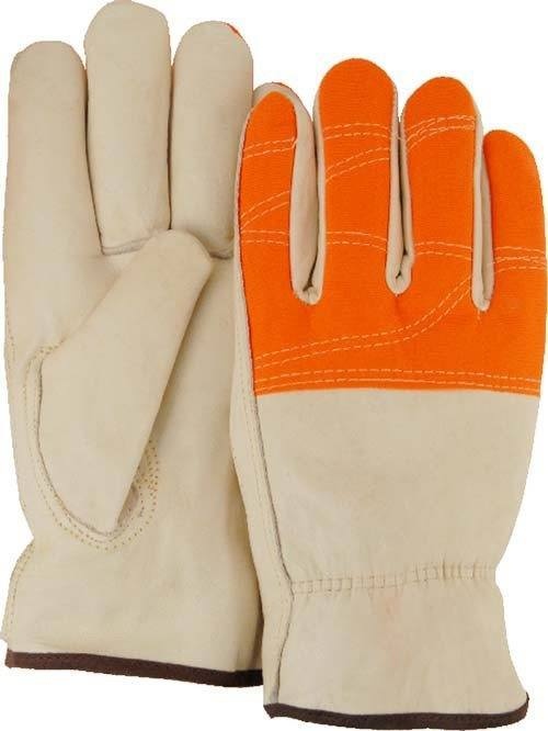 Majestic 2510HVO Cowhide Leather Driver Gloves Hi Vis Orange Fingers (DOZEN) - Global Construction Supply