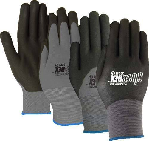 Majestic 3228KD SuperDex 3/4 dip Micro-Foam Nitrile Palm Gloves Dotted Gray/Black (DOZEN) - Global Construction Supply