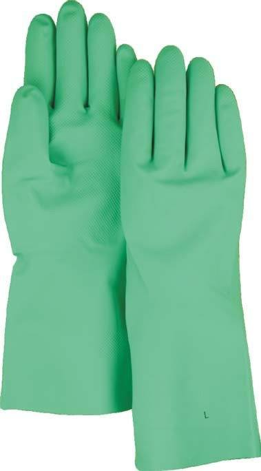 "Majestic 3248 18 Mil Green Nitrile Flock Lined Gloves 13"" (DOZEN) - Global Construction Supply"