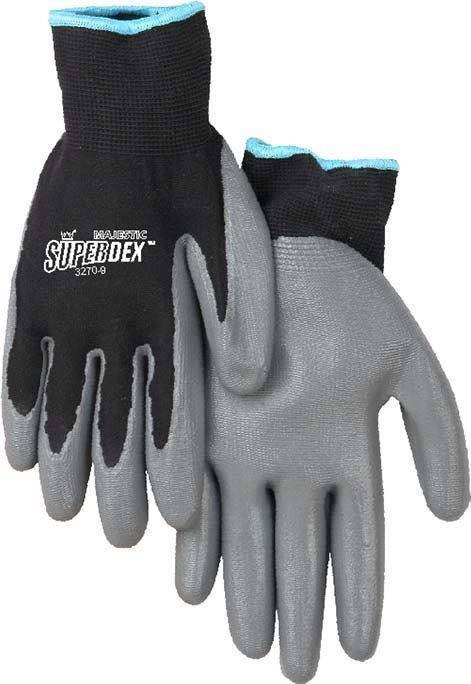 Majestic 3270 SuperDex Black/Gray Nitrile Palm Dipped Gloves (DOZEN) - Global Construction Supply