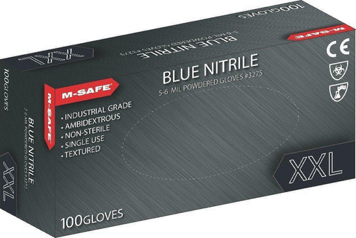 Majestic 3275 5-6 Mil Blue Nitrile Disposable Gloves Powdered Blue (CASE) - Global Construction Supply