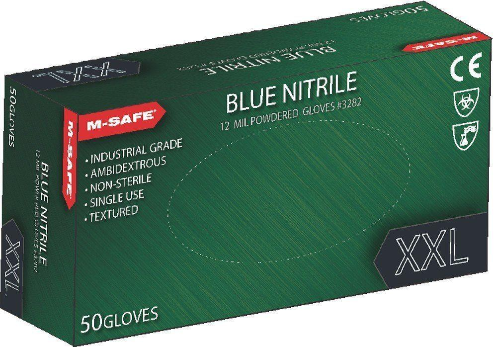 Majestic 3282 12 Mil Blue Nitrile Disposable Gloves Powdered 50/Box (CASE) - Global Construction Supply