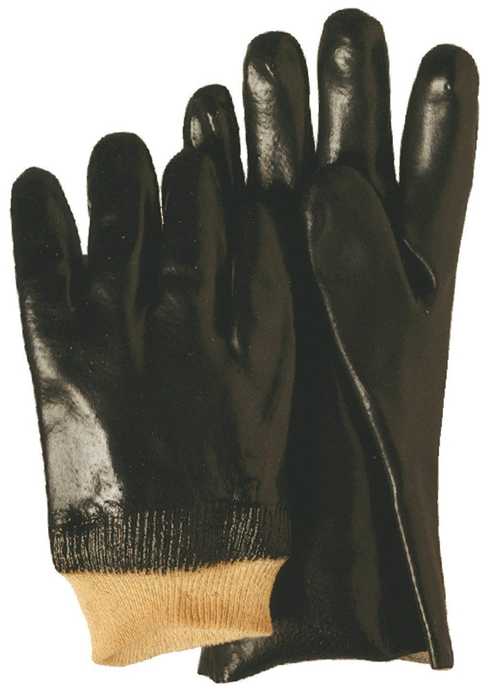Majestic 3361 Black PVC Dipped Gloves Smooth Finish Fully Coated Interlock Lined Knit Wrist (DOZEN) - Global Construction Supply