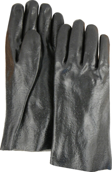 "Majestic 3362R Black PVC Dipped Gloves Rough Finish Interlock Lined 12"" (DOZEN) - Global Construction Supply"