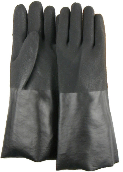 "Majestic 3364 Black PVC Dipped Gloves Sand Finish Interlock Lined 14"" (DOZEN) - Global Construction Supply"