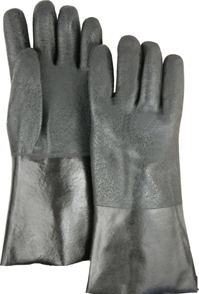 "Majestic 3364J Black PVC Dipped Gloves Sand Finish Jersey Lined 14"" (DOZEN) - Global Construction Supply"