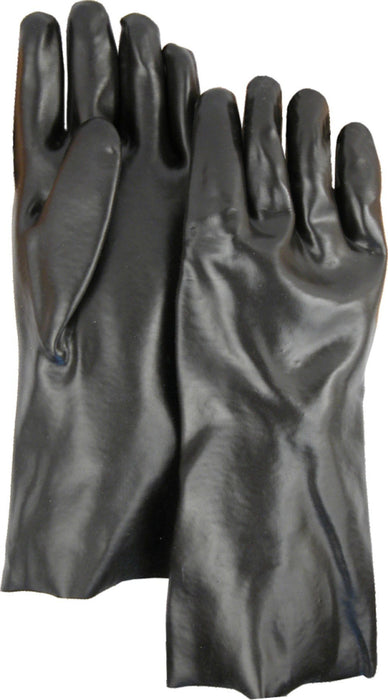 "Majestic 3365 Black PVC Dipped Gloves Smooth Finish Interlock Lined 14"" (DOZEN) - Global Construction Supply"