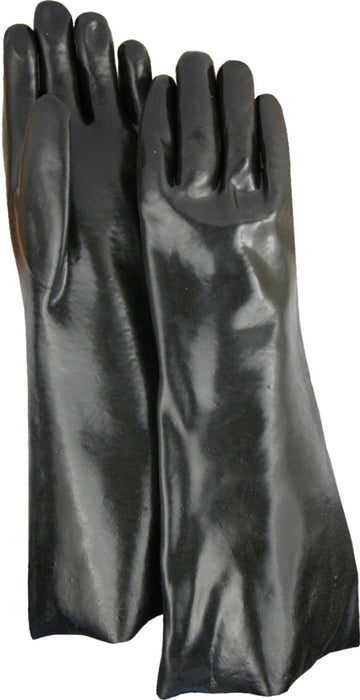 "Majestic 3367 Black PVC Dipped Gloves Smooth Finish. Interlock Lined 18"" (DOZEN) - Global Construction Supply"