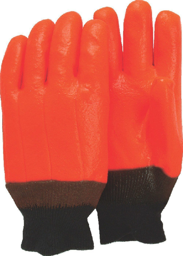 Majestic 3370 Orange PVC Dipped Gloves Smooth Finish Foam Lined Knit Wrist (DOZEN) - Global Construction Supply