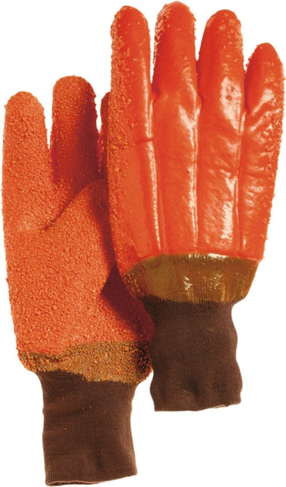 Majestic 3370G Orange PVC Dipped Gloves Gritty Finish Foam Lined Knit Wrist (DOZEN) - Global Construction Supply