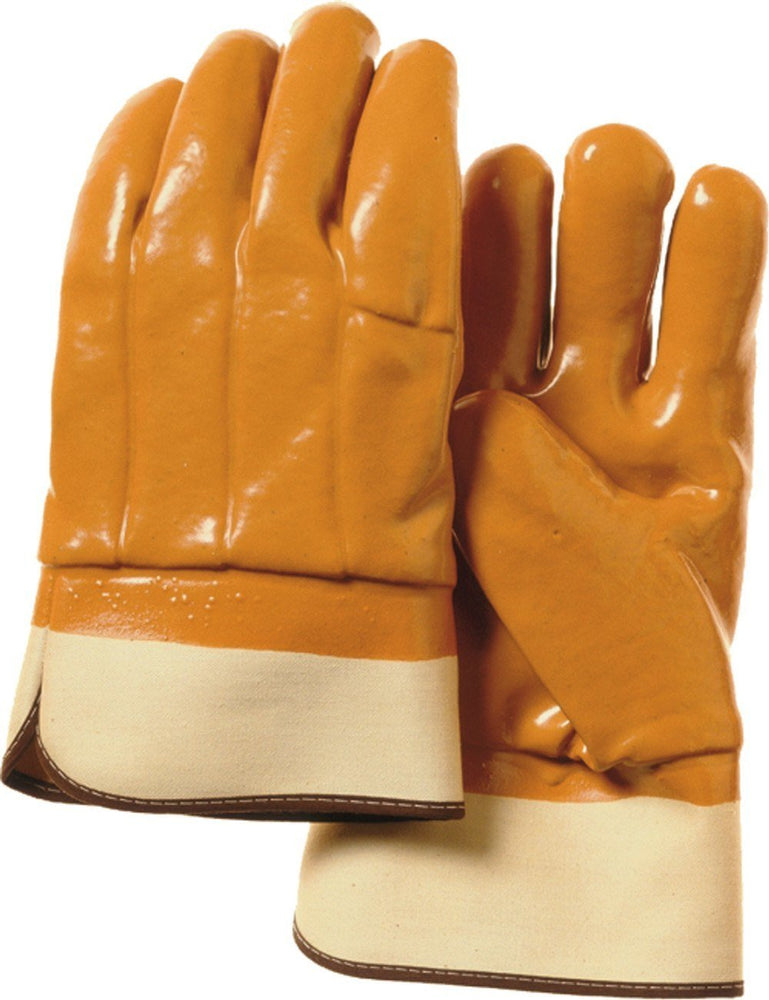 Majestic 3371 Orange PVC Dipped Gloves Smooth Finish Foam Lined Safety Cuff (DOZEN) - Global Construction Supply