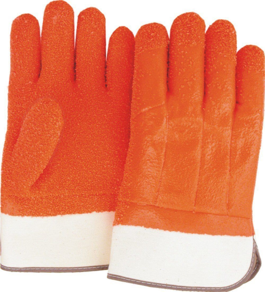 Majestic 3371G Orange PVC Dipped Gloves Gritty Finish Foam Lined Safety Cuff (DOZEN) - Global Construction Supply